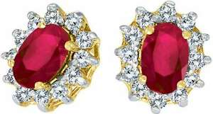 ce6fb2689c899 Details about 10k Yellow Gold Oval Ruby & .25ctw Diamond Earrings