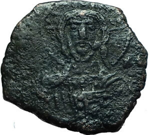 JESUS-CHRIST-Class-A1-Anonymous-Ancient-969AD-Byzantine-Follis-Coin-i66444