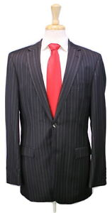 HUGO-BOSS-Recent-Bertolucci-Movie-Black-Tonestripe-120-039-s-Wool-2-Btn-Suit-40L