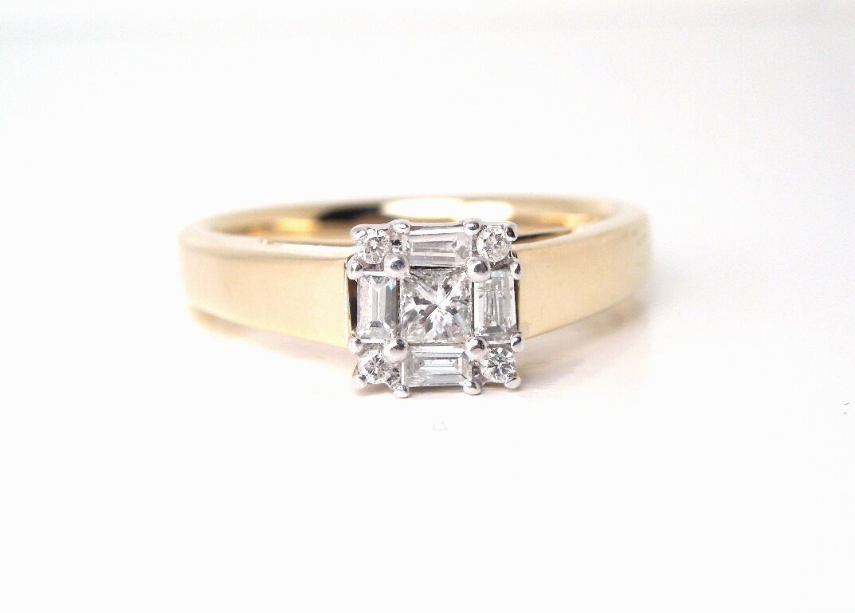 Princess Baguette Round Diamond .43 ct 14kt YG Engagement Ring   GAL Appraisal