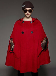 uld 4x 28 Rød Hoodie 30 størrelse Frakke Cape Yj089 Plus Blend dAzz01wqx