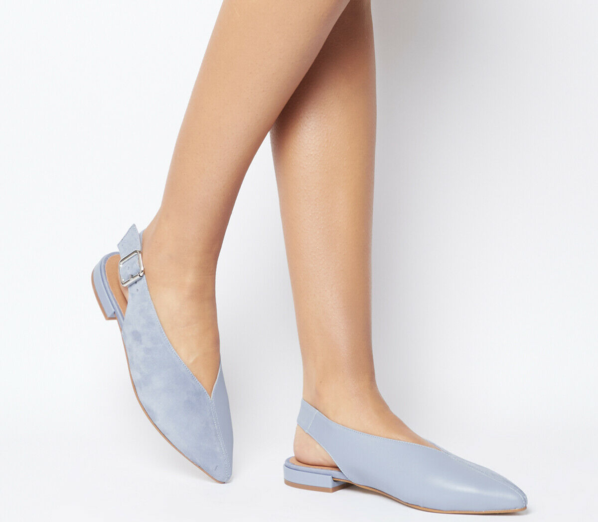 damen Office Flow Split Slingback Point Flats Blau Leather With Suede Flats