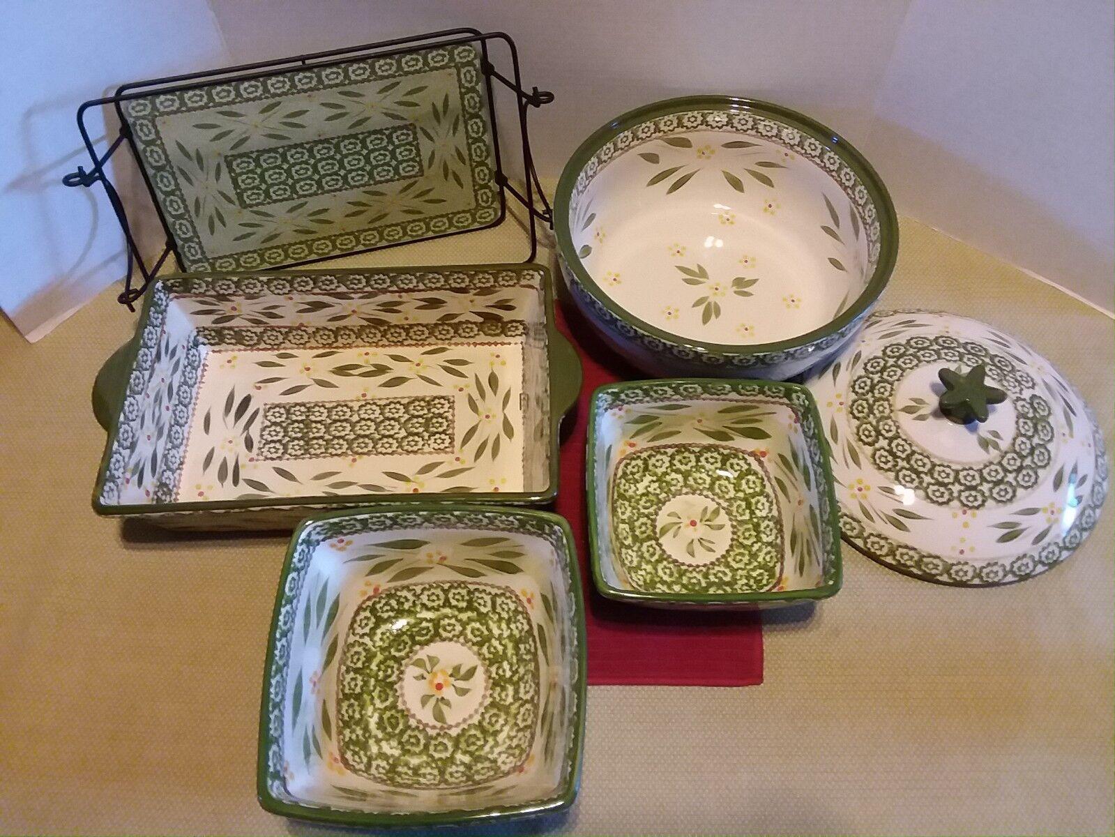 TEMP-tations 7 PC Old World Vert Ensemble d'Ustensiles de Cuisson Baking Set Cookware