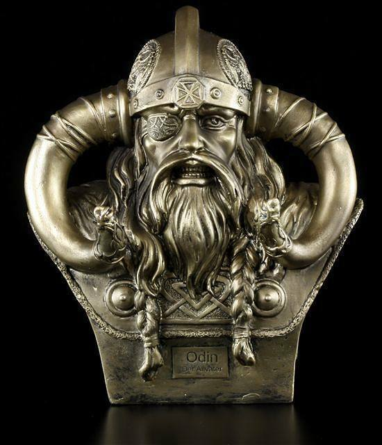 Odin Bust Medium S2 Decorative Figure Viking God Asen Helmet Horns Warrior