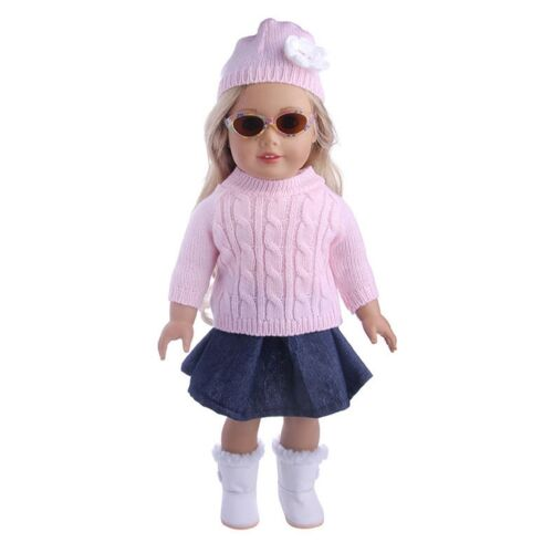 "3x 18/"" Girl Doll Clothes Accessory Suit Set Hat Sweater Skirt for 18inch Doll❤lo"