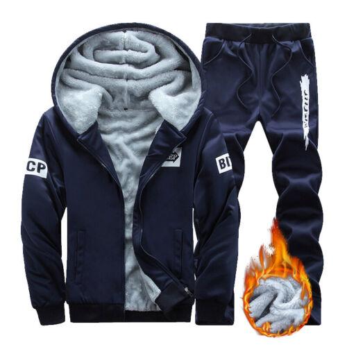 Homme en polaire chaude doublure en fourrure à capuche Survêtement Hiver Fermeture Éclair Veste Manteau Pantalon Set
