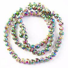 "10mm Rainbow Titanium Crystal Agate Quartz Geode Loose Bead 15.5 /"" A-583TZ"