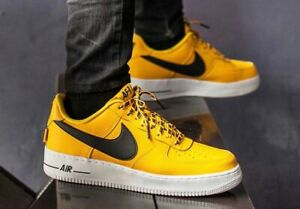 Details about Nike Air Force 1 '07 LV8 NBA Pack - SIZE US 8.5/42 Low Yellow  Black and white
