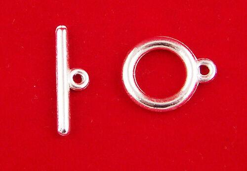 UK 10 SETS SILVER PLATED QUALITY ROUND TOGGLE CLASPS ~ Bracelets ~ Necklace 95A