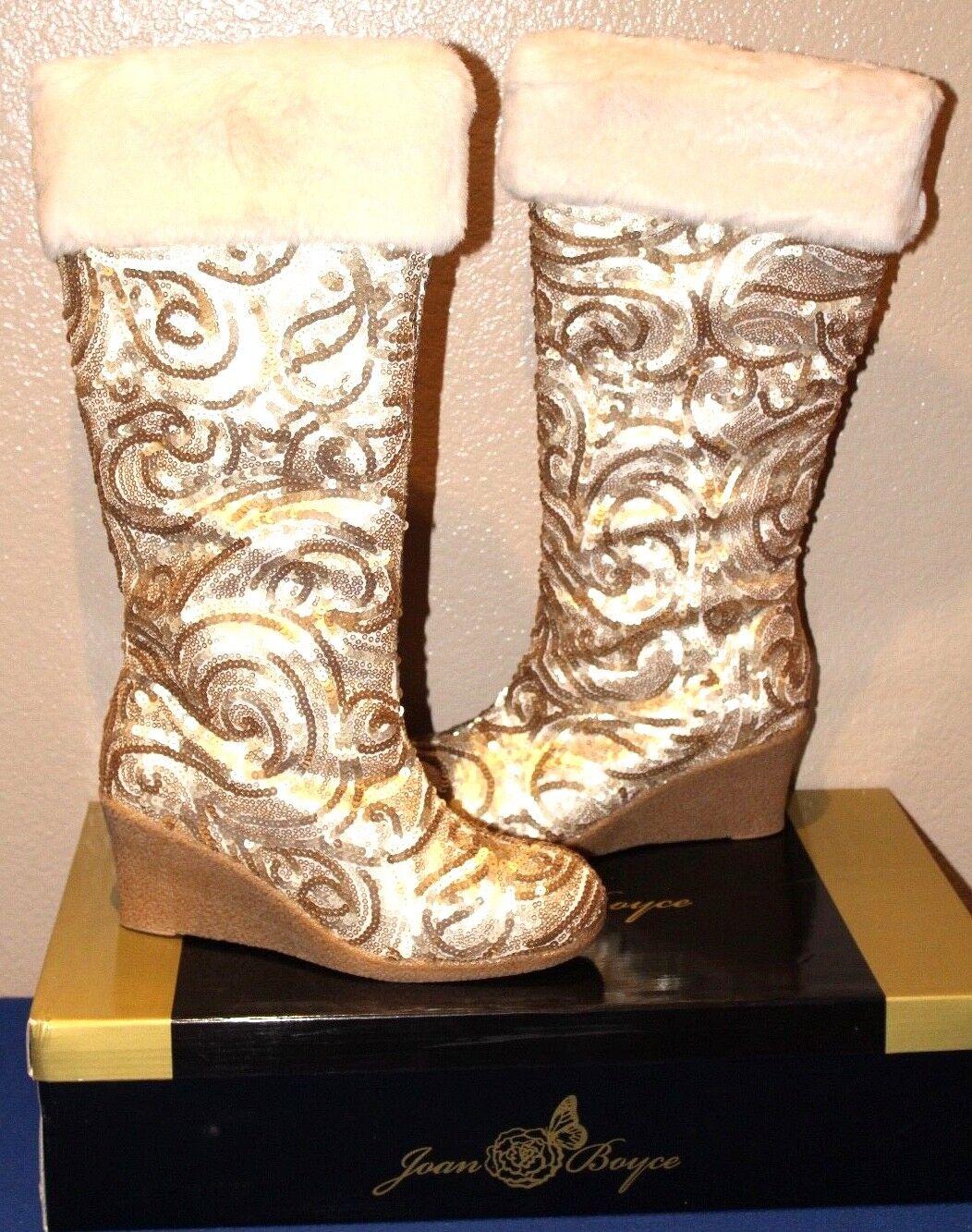 Joan Boyce Shari GOLD SEQUIN With Faux Fur Cuff Tall Wedge Heel Boots Size 10W