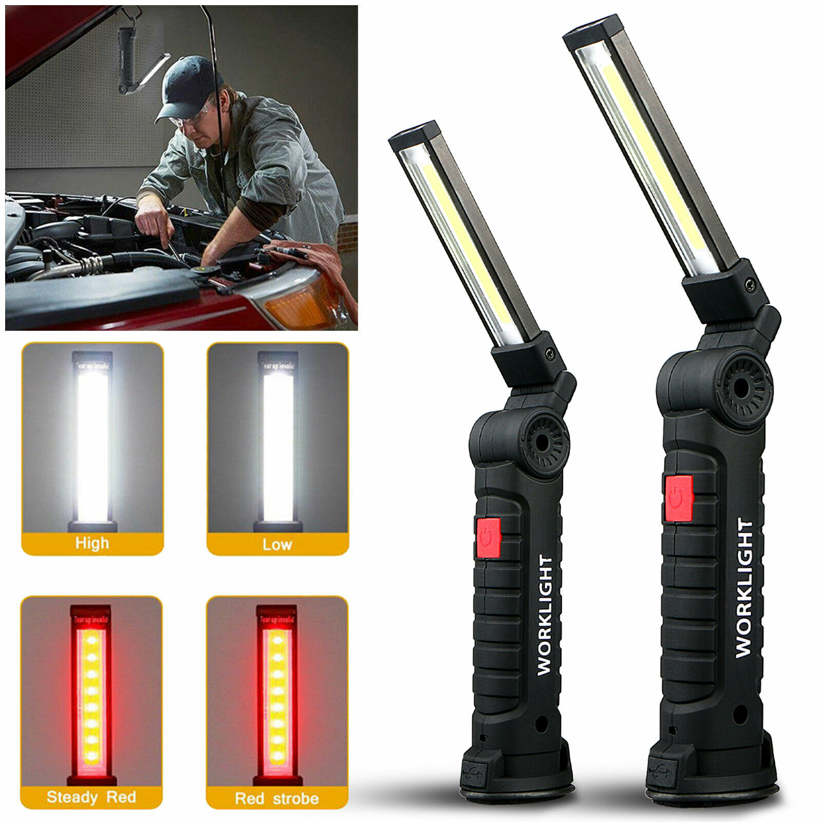 Demeras COB Led Work Light USB Rechargeable Work Light with Magnetic Base Hanging Hook for Outdoor Work Lamp Car Repair Emergency