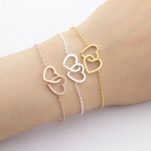 Herz-Armband-Damen-Herzen-Schmuck-Edelstahl-Liebe-Armkette-Kettchen-Frauen