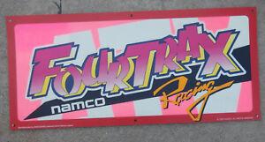 "original FOUR TRAX   ATARI  23-10 3/8"" arcade game sign marquee cF42"