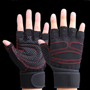 Sports Weight Lifting Gym Gloves Workout Wrist Wrap Exercise Training Fitness