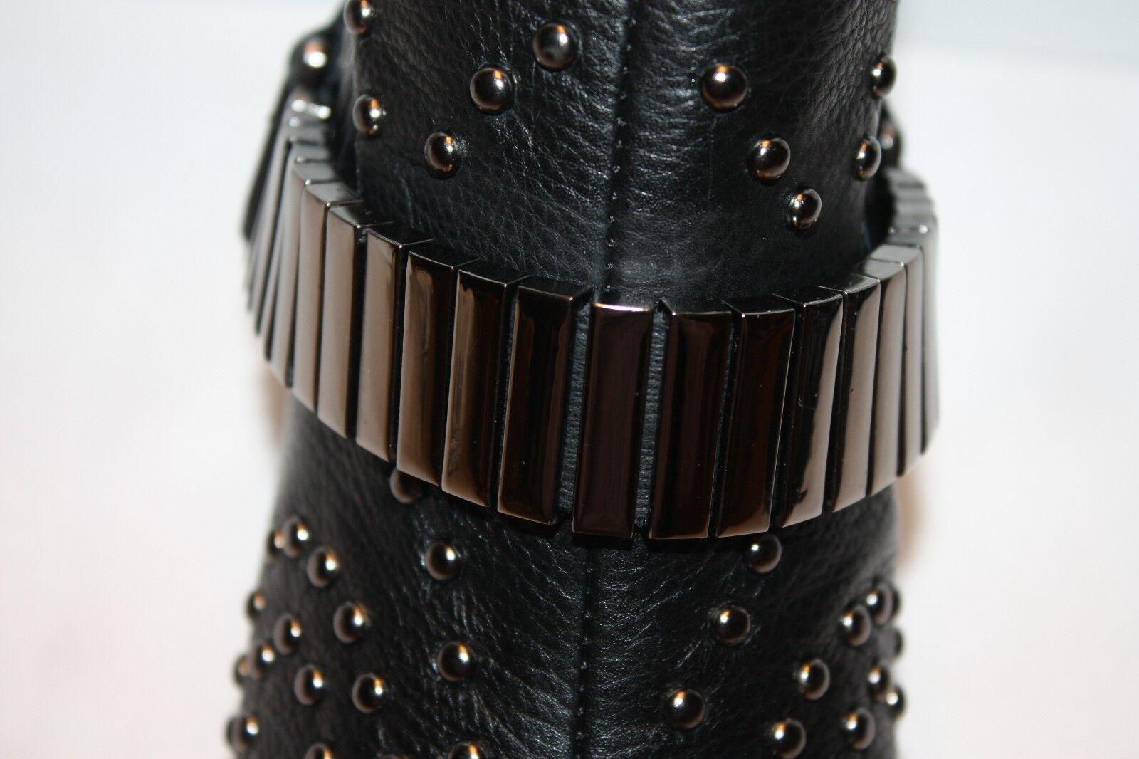 NEW NEW NEW  NIB SCHUTZ Black Napa Preto Leather Stud ANJA Moto Biker Ankle Boots 6  330 358e0e