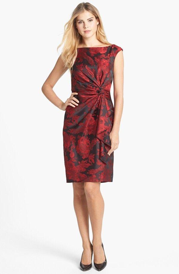 Maggy London Side Drape Jacquard Sheath Dress ( size 8)