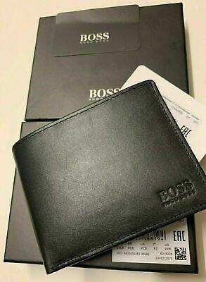 """New Designer Hugo Boss ASOLO /""""50250331/"""" Bi-Fold Black Leather Coin Wallet"""