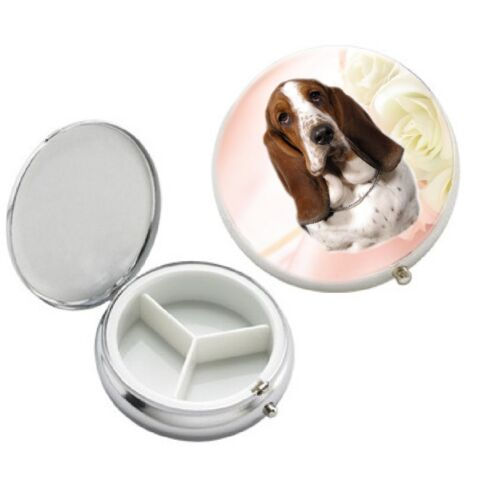 Basset Hound Dog 3 Compartment Round Metal Pill Box by paws2print