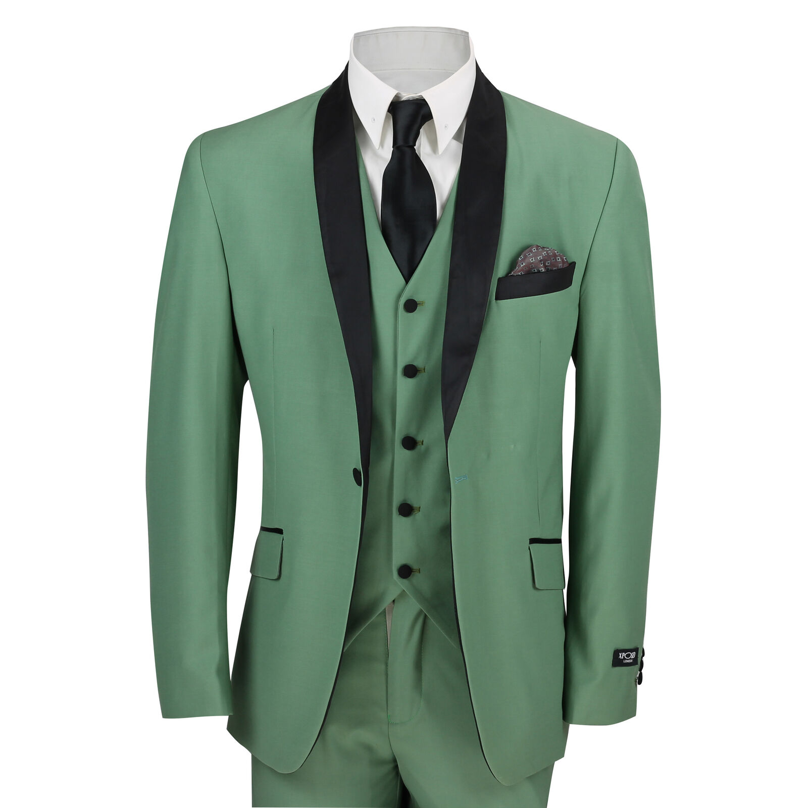 Mens 3 Piece Suit in Green Shawl Lapels Vintage Tailored Fit Wedding Prom