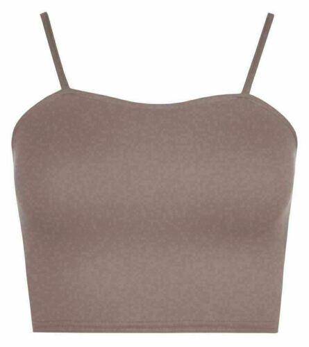 New Women/'s Plain sans manches à bretelles Cami Bustier Soutien-gorge Summer Crop Top Gilet XS-XL