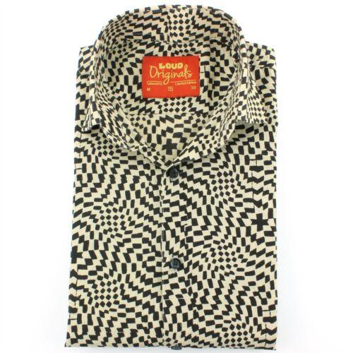 Camicia da uomo forte Originals SU MISURA Fit Pixel Nero Retro Psichedelico Costume