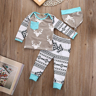 Newborn Baby Girls Boy Deer Long Sleeve Tops T-shirt Pants Hat 3pcs Outfits Set