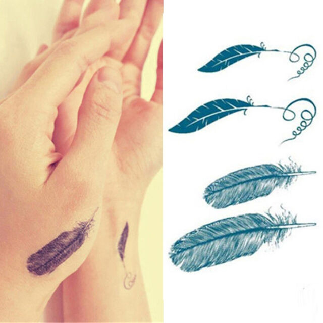 8X Chic Feather Tattoo Stickers Waterproof Temporary Removable Bodys Art Tattoo