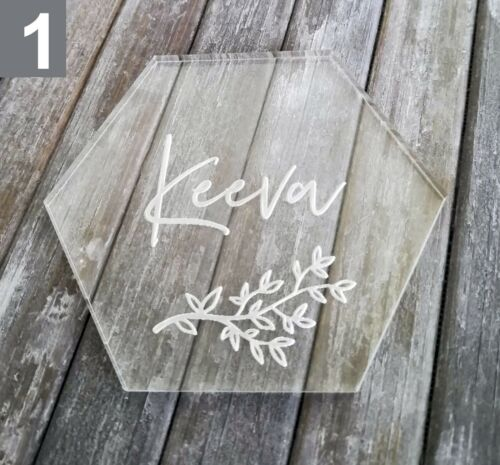 Leaf Sprig Personalised Hexagonal Acrylic Table Place Names //Calligraphy Favours