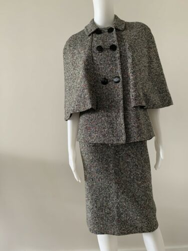 Vintage 60s Tweed Skirt Suit Tweed Faux Cape