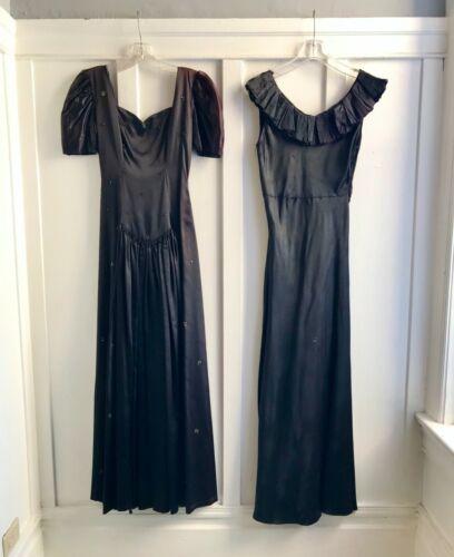 Vintage 1930s - 1940s Black Dresses - lot of 2