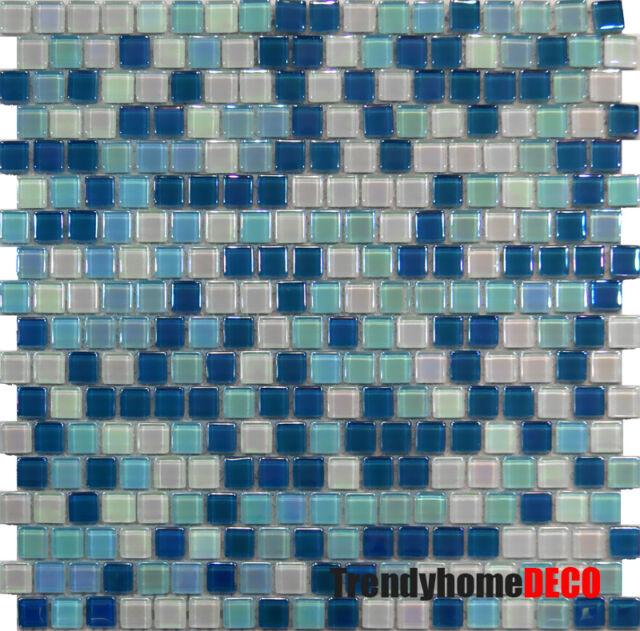 10SF- Blue White Glass Mosaic Tile Kitchen Backsplash Sink Bath Pool Spa Wall