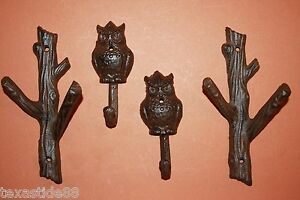 4-WOODSY-TREE-BRANCH-OWL-WALL-HOOKS-CAST-IRON-OWL-AND-TREE-SET-H-42-43