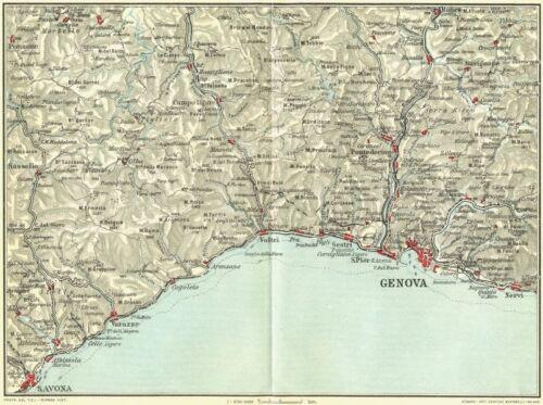 ITALIAN RIVIERA LIGURE PONENTE Genova Genoa Savona Nervi Varazze 1927 old map