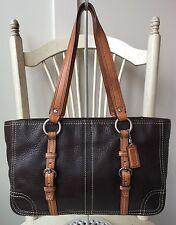 $338 - COACH Large Brown & Tan Leather Hamptons Handbag Shoulder Bag Tote #12339