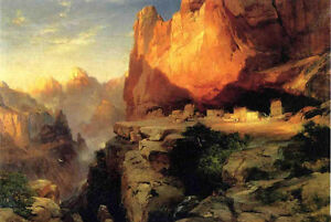 Oil-Thomas-Moran-Cliff-Dwellers-mountains-landscape-with-Grand-Canyon-canvas