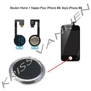 Bouton-Home-Couleur-Noir-Avec-Contour-Argente-Pour-iPhone-4S-Nappe-Home