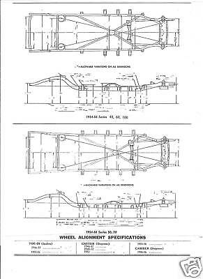 1955 Buick Super Roadmaster NOS Frame Dimensions Wheel Alignment Specifications