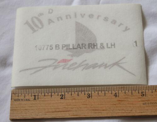 NEW 2 SLP Pontiac Firehawk 10th Anniversary B-Pillar Decals in Gold