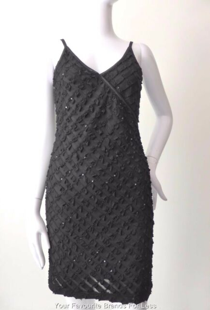 CUE - NEW - Black Sleeveless Stretch Mini Dress  Made In Australia 6 - 8 US 2 -4