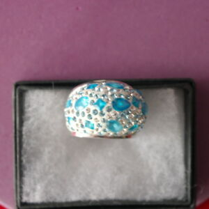 BEAUTIFUL BIG 925 SILVER RING WITH BLUE & WHITE TOPAZ 19.6 GR.SIZE N1\2 IN BOX