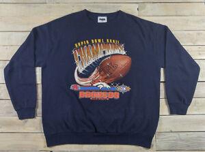 a4a89feba63 Vintage NFL DENVER BRONCOS Super Bowl 32 First Championship Blue ...