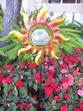 Solar Powered Metal Sun Ray Glass Crackle Ball Garden Stake Color Change Light