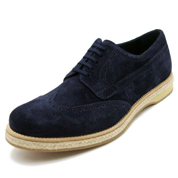 PRADA SCAMOSCIATO blue SUEDE WING TIP LACE-UP ESPADRILLE SHOES SIZE US 12  850