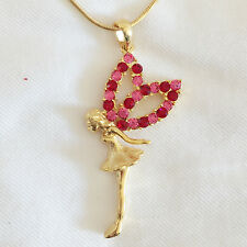 New Pink Twinkle Fairy Charm Pendant Golden Good Fortune Chain Necklace NE1204