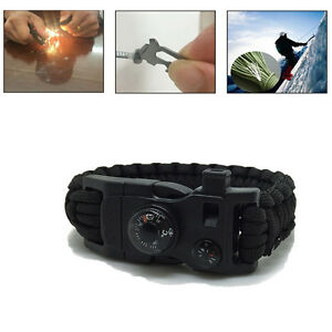 Emergency Survival Paracord Braclet Flint Fire Starter Whistle Thermometer US