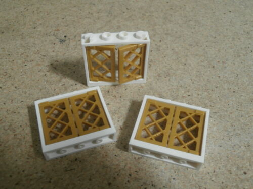 Lego City 3 x White Window Frame with Lattice Shutter NEW