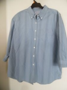 CABIN-CREEK-WRINKLE-FREE-STAIN-RELEASE-BLUE-STRIPED-TOP-SHIRT-BLOUSE-SZ-14