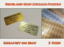 Personalised Printed Sticky Address Labels White Gold Silver Metallic Stickers