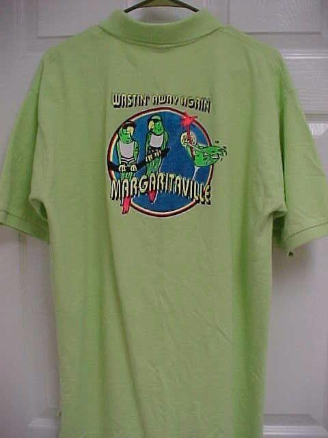 MARGARITAVILLE Wastin Away Again Men Lime Green Short Sleeve Polo Shirt XL Fruit
