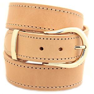 "1 1/2"" Natural Tan Harness Leather Belt Decorative Stitching Buckle Set"